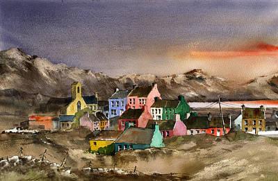 Eyeries Village Beara  Cork Print by Val Byrne