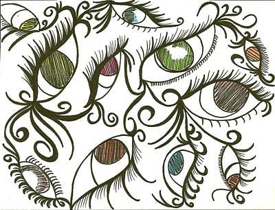 Eye Lashes Drawing - Eyes Galore by Angie Oviedo
