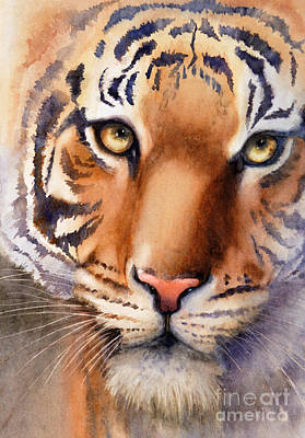 Endangered Wildlife Painting - Eyes Of The Tiger by Bonnie Rinier