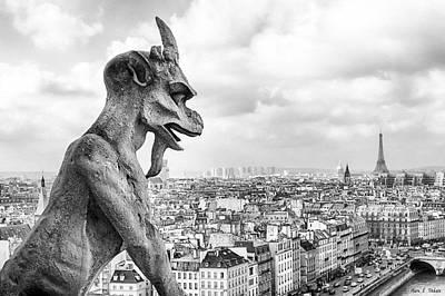 Cathedral Photograph - Eyes On The Horizon - Gargoyles Of Paris by Mark E Tisdale