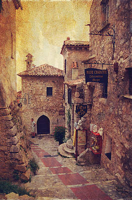 Old House Photograph - Eze Street In Color. France by Jenny Rainbow