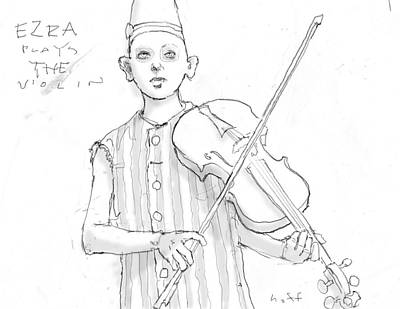 Violin Drawing - Ezra Plays The Violin by H James Hoff