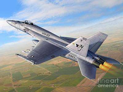 F-18e Over The Valley Print by Stu Shepherd
