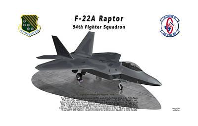 1st Base Digital Art - F-22a Raptor 94th Fighter Squadron On Ramp by Bob Tyler