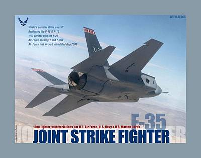 Two Tailed Mixed Media - F 35 Joint Strike Fighter Large Border by L Brown