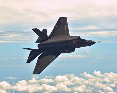 F 35 Joint Strike Fighter Lightening II Banking Enhanced II Print by US Military - L Brown