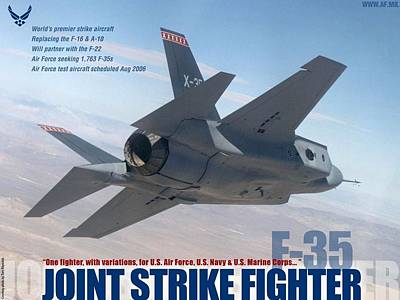 Lockheed Martin F-35 Joint Strike Fighter Lightening II With Text Print by L Brown