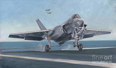 Carrier Painting - F-35c Carrier Landing by Stephen Roberson