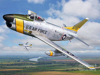 F-86l Of The 82nd Fis Print by Stu Shepherd