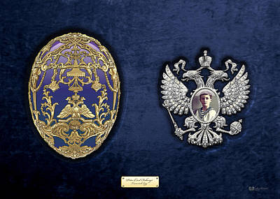 Faberge Tsarevich Egg With Surprise On Blue Velvet Original by Serge Averbukh
