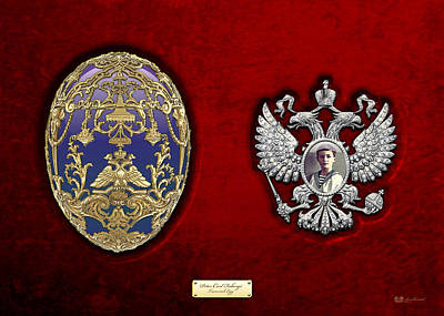 Faberge Tsarevich Egg With Surprise On Red Velvet Original by Serge Averbukh