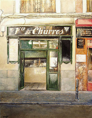 Spain Painting - Fabrica De Churros by Tomas Castano