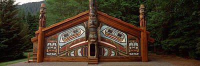 Facade Of A Clan House, Totem Bight Print by Panoramic Images