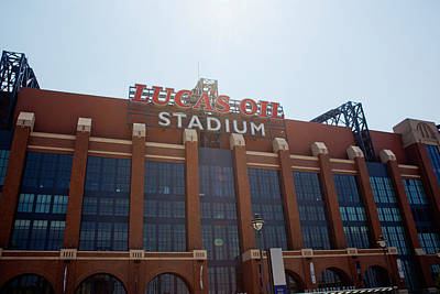 Window Signs Photograph - Facade Of The Lucas Oil Stadium by Panoramic Images