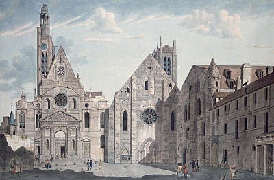 Facades Of The Churches Of St Genevieve And St Etienne Du Mont Print by Angelo Garbizza