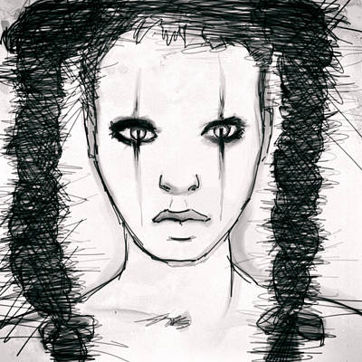 Mascara Drawing - Face by H James Hoff