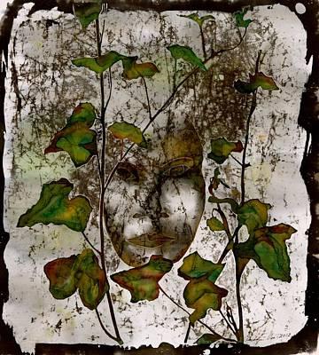 Face In The Garden Print by Carolyn Doe
