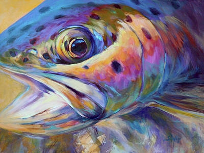 Trout Painting - Face Of A Rainbow- Rainbow Trout Portrait by Savlen Art