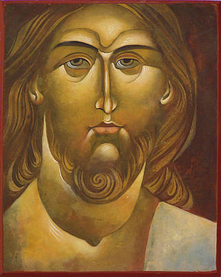 Egg Tempera Painting - Face Of Christ by Mary jane Miller