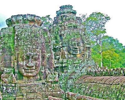 Angkor Digital Art - Face Towers In Bayon In Angkor Thom In Angkor Wat Archeological Park Near Siem Reap-cambodia by Ruth Hager