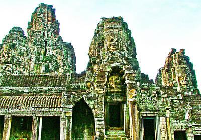 Angkor Digital Art - Face Towers Of Bayon In Angkor Thom In Angkor Wat Archeological Park Near Siem Reap-cambodia by Ruth Hager
