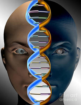 Face With Dna Print by Mike Agliolo