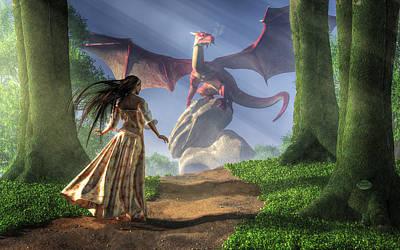 Overcoming Digital Art - Facing The Red Dragon by Daniel Eskridge