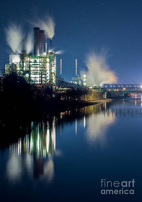 Night Photograph - Factory At The River by Daniel Heine