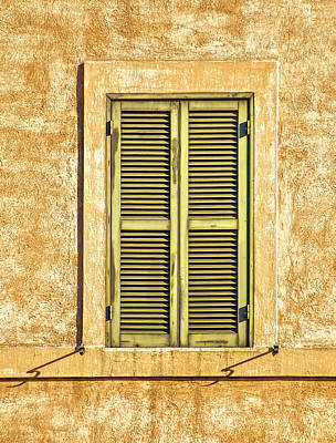 Faded Green Wood Window Shutter Of Medieval Rome  Print by David Letts