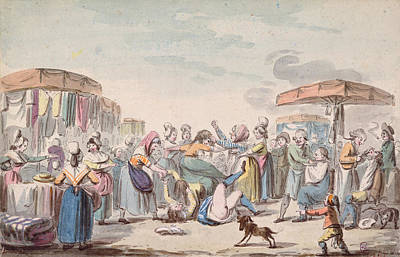 Lively Photograph - Fair During The Period Of The French Revolution, C.1789 Wc On Paper by Etienne Bericourt