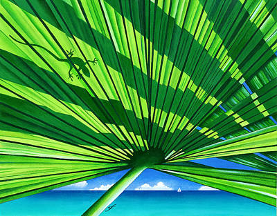 Fair Weather Fronds Print by Carolyn Steele