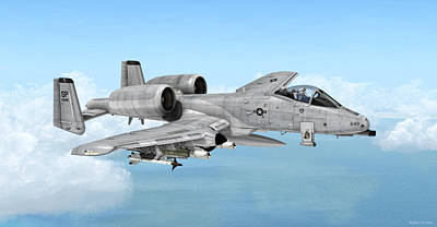 Warbird Mixed Media - Fairchild A-10 Thunderbolt by Walter Colvin