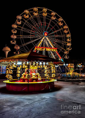 Fairground At Night Print by Adrian Evans