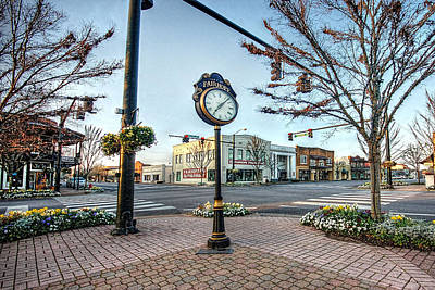 Fairhope Clock And 4 Corners Print by Michael Thomas