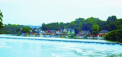 Row Boat Digital Art - Fairmount Dam With Boathouse Row In Philadelphia by Bill Cannon