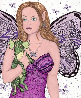 Lavender Drawing - Fairy And Her New Friend -- The Baby Dragon by Sherry Goeben