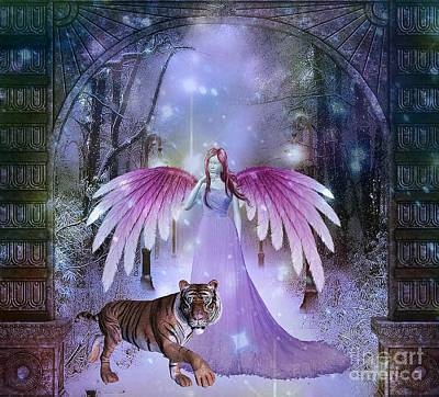 Painting - Fairy And Tiger by Jessie Art