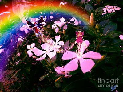 Flower Pink Fairy Child Digital Art - Fairy Landing On Crape Jasmine by Artist Nandika  Dutt