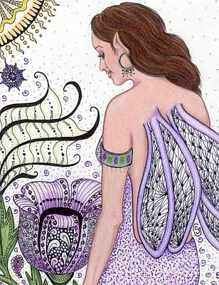 Lavender Drawing - Fairy -- I Just Love My Poppy by Sherry Goeben