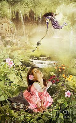 Flower Pink Fairy Child Digital Art - Fairy Mirabell And The Golden Key by Donika Nikova - ShaynART