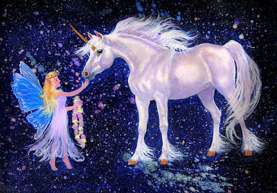 Unicorn Painting - Fairydust by Nancy L Baker