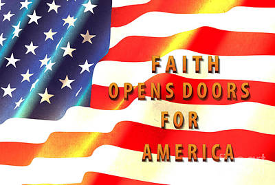 Old Glory Mixed Media - Faith And America by Beverly Guilliams