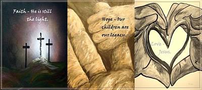 Triptych Painting - Faith Hope Love by Eloise Schneider