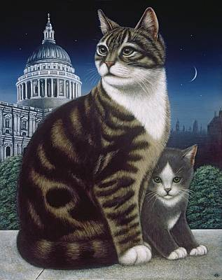 Cat And Moon Painting - Faith, The St. Paul's Cat by Frances Broomfield