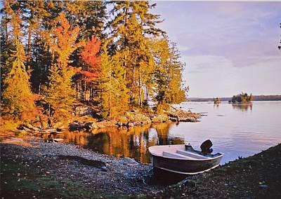 Fall At A Maine Pond Original by Lena Hatch