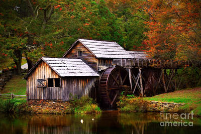 Fall At Mabry Mill Print by T Lowry Wilson
