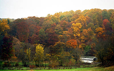 Covered Bridge Photograph - Fall At Valley Forge by Skip Willits