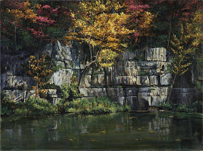 Ledge Painting - Fall Bluffs - Ozark Nat'l Scenic Rivers by Don  Langeneckert