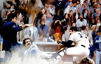 New York Yankees Drawing - Fall Classic II  Thurman Munson by Iconic Images Art Gallery David Pucciarelli