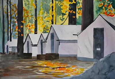 Yosemite Painting - Fall Colors In Curry Village by James Nuce